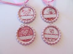 Personalized Valentine Bottle Caps on Pink bottle caps with pink ribbon/cord necklace