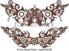 Vector - Steampunk Design Elements - stock illustration, royalty free illustrations, stock clip art icon, stock clipart icons, logo, line art, EPS picture, pictures, graphic, graphics, drawing, drawings, vector image, artwork, EPS vector art