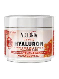 Crema de fata antirid Hyaluron 50-65 ani - 50 ml - Crema de zi si de noapte cu caviar, struguri rosii si acid hialuronic ce regenereaza si catifeleaza intens epiderma, reducand ridurile profunde. Filtre UVA si UVB. Victoria Beauty, Caviar, Red Grapes, Anti Wrinkle, Acid Hialuronic, Make It Simple, Blog, Lady, Blogging