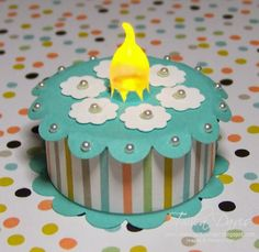 "Sweet Sorbet DSP from the Sale-a-bration flyer Cardstock: Coastal Cabana & Whisper White Punches: 1 3/4"" Scallop Circle, Scallop Circle, and Circle from Itty Bitty Shapes Punch Pack  Tiny Pearls from Pearl Basic Jewels Paper Snips Glue dots, Multipurpose Liquid Glue Tealight"