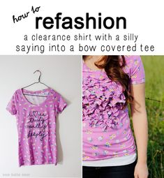 clearance t shirt refashion: turn a shirt with a silly saying into a bow covered tee!