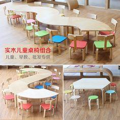 美宜家木質幼兒園桌椅 拼接大課桌早教培訓班兒童桌椅 組合遊戲桌