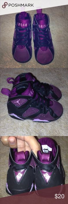 Jordan retro 7 GT JORDAN 7 RETRO VI GT BT TD BLACK FUCHSIA MULBERRY TODDLER. In used condition. My daughter never got to use these because she didn't fit them. Flaws are on pictures. If you have any further questions please feel free to ask ❤️ Jordan Shoes Sneakers