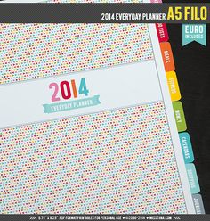 "A5 Filo - 2014 Everyday Planner Printable PDF - 5.75"" x 8.25"" - EURO included - instant download"