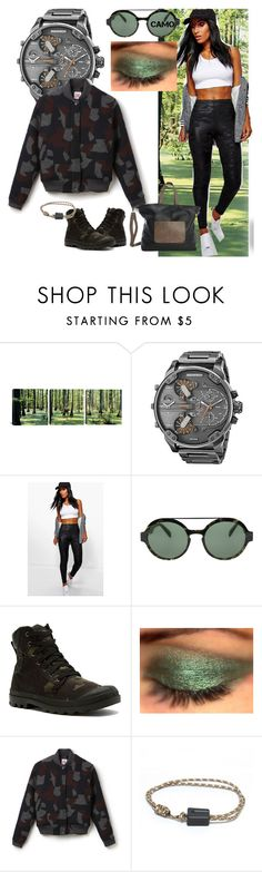"""""""In the forest of the Life"""" by andrea-pok on Polyvore featuring Diesel, Boohoo, Italia Independent, Palladium, Lacoste, Clava and camo"""