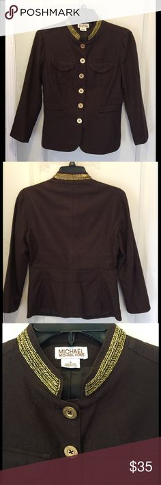 Micheal Kors  chocolate brown Blazer gold trim Stunning Chocolate Brown Linen Blazer with large gold buttons and gold trimming. Fully lined with pocket details on front. By Micheal Kors.  Dry clean only 55% Linen 45% cotton MICHAEL Michael Kors Jackets & Coats Blazers