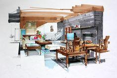 interior sketch living room marker rendering