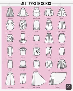 Set of different types of skirts on pink background. Set of different types of skirts on pink background. Simple Set of different types of skirts on pink background. Fashion Terminology, Fashion Terms, Fashion Art, Skirt Fashion, Fashion Dresses, Fashion Flats, Fashion Shirts, Fashion Guide, Color Fashion