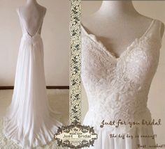 V neck lace chiffon elegant open back beach wedding by Justbridals