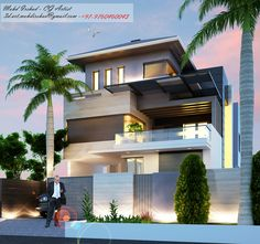 Modern Exterior House Designs, Architectural Design House Plans, Building Elevation, House Elevation, Front Elevation Designs, Bedroom Closet Design, Bungalow House Design, Architect House, Facade House