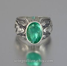 GUARDIAN ANGELS Mens silver ring with Emerald (sizes 8 to 14)