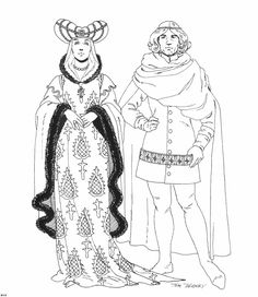Renaissance Costumes and Clothing Coloring Pages 16 | Coloring ...