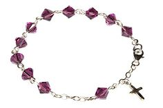 Sterling Silver Child Rosary Bracelet made with Amethyst Purple Swarovski Crystal elements February ** You can get more details by clicking on the image.