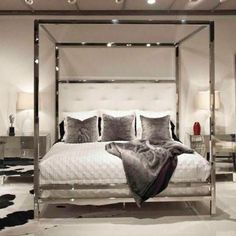 Polished Stainless Steel Canopy Four Poster Bed, Bed Down Furniture Atlanta