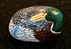 Duck painted on a rock by Linda Hallett.