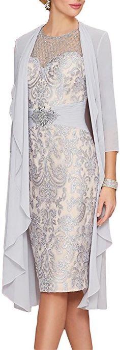 Newdeve Lace Mother of The Bride Dresses Rhinestone Belt with Chiffon Jacket at Amazon Women's Clothing store: