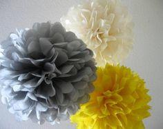 30 tissue Paper Poms - Your Color Choice- SALE - Wedding - Shower - Nursery - Ceremony Decorations