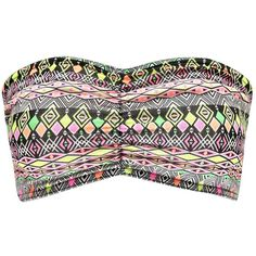 Boohoo Kaitlyn Neon Aztec Ruched Front Bandeau ($5) ❤ liked on Polyvore featuring tops, crop tops, black ruched top, neon bandeau top, black top, shirred top and rayon tops