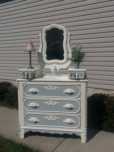 Shabby Chic Antique Glove Box Dresser with Swivel Mirror in Old White & Paris Gray Annie Sloan Chalk Paint