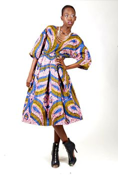 Mid  Length V Neck Cut African Print Pleated by tribalgroove