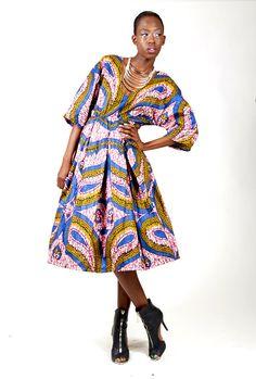 Joyce Mid – Length V Neck Cut African Print Pleated Printed Dress