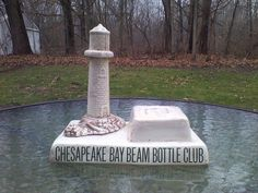 Jim Beam Lighthouse Decanter Bottle Club Shelf Sign Chesapeake Bay Ceramic  #JimBeam