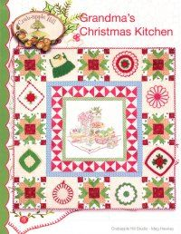 """Grandma's Christmas Kitchen (pattern) The tastes, scents, warmth, and love of Grandma's kitchen are captured in the simple crayon tinted embroidery. Then, vintage potholders on the border bring those memories to life! Border can be completed without the addition of potholders. Wallhanging measures 45 1/2"""" x 45 1/2""""."""