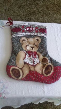 Christmas stocking, made using a panel. Easy to do