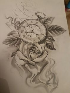 Tattoo clock  rose