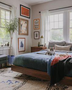 Dark Wood Bed Frame, Wooden Bed Frames, Mid Century Bed, Mid Century Modern Bedroom, Wood Bedroom, Bedroom Decor, Wooden Furniture Bedroom, Walnut Bedroom, Master Bedroom