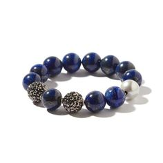 Lapis and Freshwater Pearl Silver Pavé Bling Bracelet
