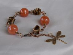 Peach Agate Gemstone Bracelet with Copper by CharmedImagination