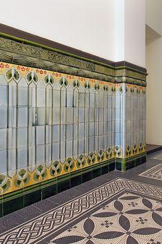 Tile Art, Mosaic Art, Mosaic Tiles, Wall Tiles, Art Nouveau Interior, Art Deco Colors, Tiled Hallway, Art Nouveau Pattern, Art Nouveau Tiles