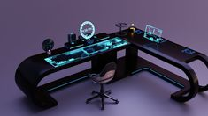 Office Desk Set, Pc Desk, New Technology Gadgets, Futuristic Technology, Futuristic Interior, Futuristic Architecture, Game Maker Studio, Dream Desk, Sci Fi Environment