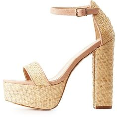Charlotte Russe Straw Two-Piece Platform Sandals ($33) ❤ liked on Polyvore featuring shoes, sandals, heels, zapatos, nude, cushioned sandals, block heel platform sandals, charlotte russe sandals, summer sandals and nude sandals