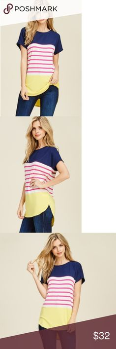 Funky Solid & Striped Combo Color block Top A bright twist on the classic triple color block design, this short sleeve high/lo hem delight is like a cold drink of pink lemonade on the first hot day of the summer. Navy across the shoulders, pink stripes across the middle, and ending with a bright sun shine yellow bottom hem.  Item is NWT and ships in 3-4 days.   I Now Accept Returns, No Questions Asked. See my Policy listing for details.   Be Original Stay Original Shop @OriginalHailey White…