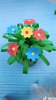 Origami video. beautiful flower. #christmasnailart #christmasnailideas #christmasnail Paper Flowers Craft, Paper Crafts Origami, Paper Crafts For Kids, Origami Easy, Preschool Crafts, Flower Crafts Kids, Easy Mother's Day Crafts, Origami Flowers, Diy Paper