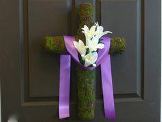 Easter wreath spring wreaths cross wreath front door by aniamelisa