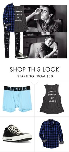 """""""Lukas"""" by mad-die-hatter ❤ liked on Polyvore featuring Calvin Klein Underwear, Billabong, Converse, Lands' End, men's fashion and menswear"""