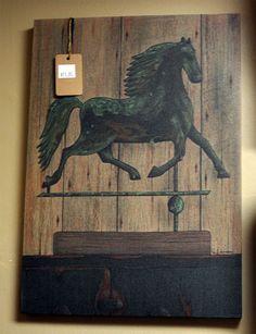 Country Primitive Canvas Print - Horse Weather Vane.