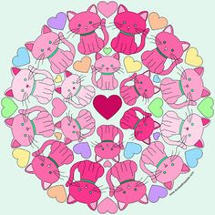 Kitty mandala with blank version to color