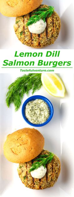 These Lemon Dill Salmon Burgers can be made in less than 10 minutes and taste so delicious! | http://Tastefulventure.com