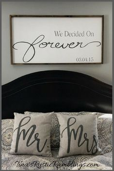 Wedding Gifts Large Wooden Sign / We Decided on Forever / Master bedroom Sign / Over the bed signs / personalized Sign / Wedding gift