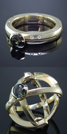 Armillary Ring by Kirk Lang, original designer. Transforms from a traditional engagement ring into an armillary sphere - www.kirklang.com