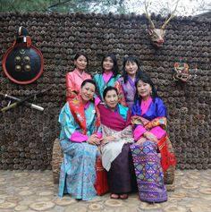 One uncommon detail: Queen Jetsun has of course just one mother-in-law, but, there are 3 other Queens. Her father-in-law, the former King, married 4 sisters. They are all his wives and thus Queens...in this picture Queen Jetsun is photographed with the 4 sister-wives and former Queens and the grandmother of King Jigme.