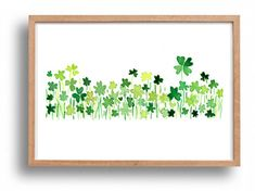 Clover field 2 art Print lucky clover Shamrock by TheJoyofColor