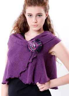 Vest shawl flare knit purple hand made pin uniq by IraTadson