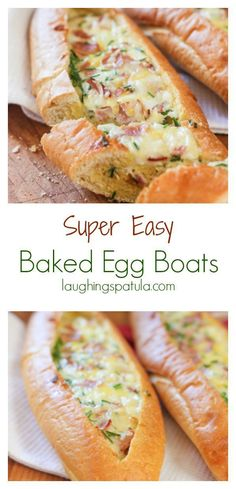 Baked Egg Boats! Fill store bought baguettes with your favorite omelette ingredients. Bake and breakfast done! Make one or 20! Super easy!
