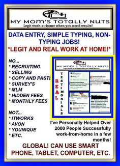 I would like to say that you are getting MORE than just a work-at-home guide with companies, etc. You are also getting access into my private group where I share all kinds of legit FREE jobs, made videos to help, and share daily jobs as well! Both full-tim...