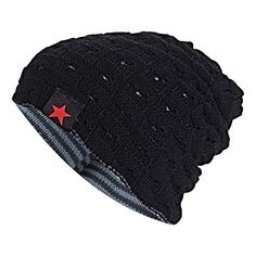 f666fefd6cd SANDALUP Unisex Trendy Slouchy Beanie Warm Soft Lining Winter Knit Hat  Skull Cap With Hollow Black